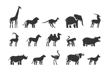 Animals vector icons set isolated on white background