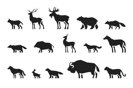 glutton: animals set black icons isolated on white background. vector illustration
