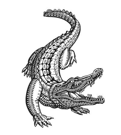 Krokodil, Krokodil oder Tier Stammes-ethnische Verzierung gemalt. Handgezeichnete Vektor-Illustration mit dekorativen Elementen Vektorgrafik