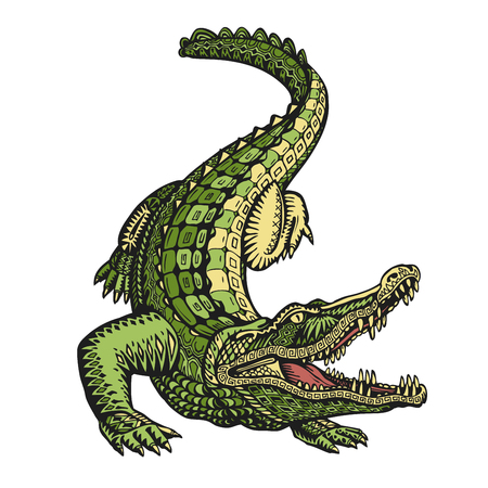 caiman: Ethnic ornamented alligator or crocodile. Hand-drawn vector illustration with decorative elements