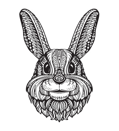 leporidae: Rabbit or Bunny head isolated on white background. Hand-drawn vector illustration of an ethnic style