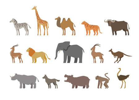 Animals set of colored icons on white background. Vector illustration Illustration
