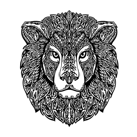 ornamented: Ethnic ornamented lion. Hand-drawn vector illustration with floral elements Illustration