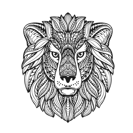 beautiful lion ethnic graphic style with herbal ornaments and patterned mane. vector illustration