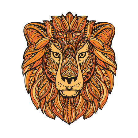 Lion painted tribal ethnic ornament. Hand-drawn vector illustration with floral elements
