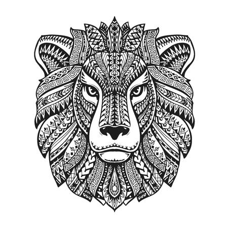 Head lion. Ethnic patterns. Hand-drawn vector illustration with floral elements. Leo, animal symbol Illusztráció