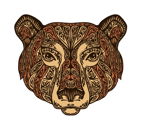 Head bear. Ethnic patterns. Hand-drawn vector illustration with floral elements. Grizzly, animal symbol