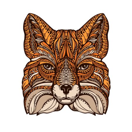ornamented: Ethnic ornamented fox. Hand-drawn vector illustration with decorative elements