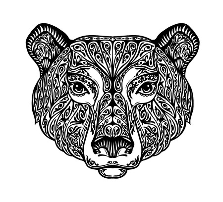 totem indien: Ours, grizzly ou animal peint ornement ethnique tribal. Hand-drawn illustration vectorielle avec des éléments floraux Illustration