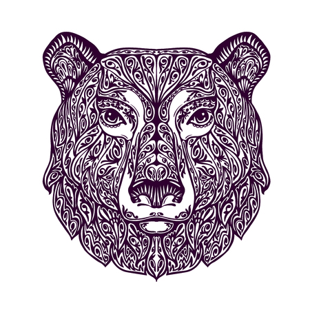 Ethnic ornamented bear. Hand-drawn vector illustration with floral elements