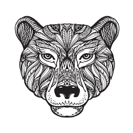 celtic: Bear. Ethnic patterns. Hand-drawn vector illustration with celtic elements. Head grizzly, animal symbol