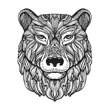 Oso pardo o la cabeza aislada en el fondo blanco. ilustración vectorial dibujado a mano con elementos decorativos Ilustración de vector
