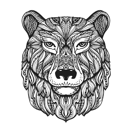 Bear or grizzly head isolated on white background. Hand-drawn vector illustration with decorative elements