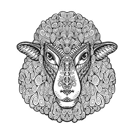Owce głowy. Wzory etniczne. Rę cznie rysowane ilustracji wektorowych z elementami kwiatu. Baranek, symbol zwierzęcy