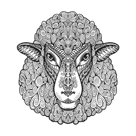 Head sheep. Ethnic patterns. Hand-drawn vector illustration with floral elements. Lamb, animal symbol Vettoriali