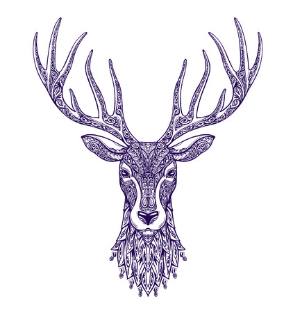 Deer head isolated on white background. Hand-drawn vector illustration with floral elements Illustration