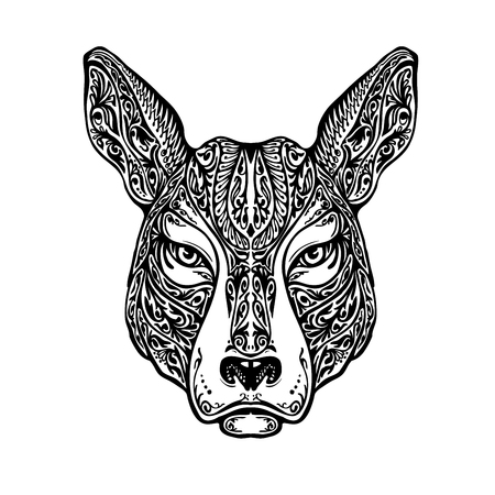 ornamented: Ethnic ornamented dog, pit bull terrier or kangaroo. Hand-drawn vector illustration with floral elements Illustration