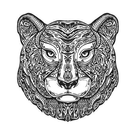 ornamented: Ethnic ornamented tiger, puma, panther, leopard or jaguar. Hand-drawn vector illustration with floral elements Illustration