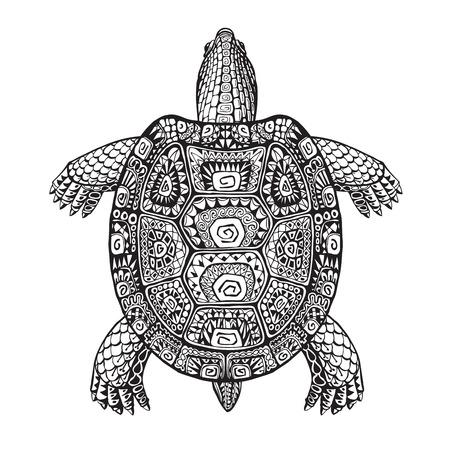 tortuga: estilo gráfico étnica tortuga con el modelo decorativo. ilustración vectorial