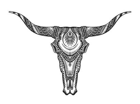 Decorative Indian bull skull. Hand-drawn vector illustration