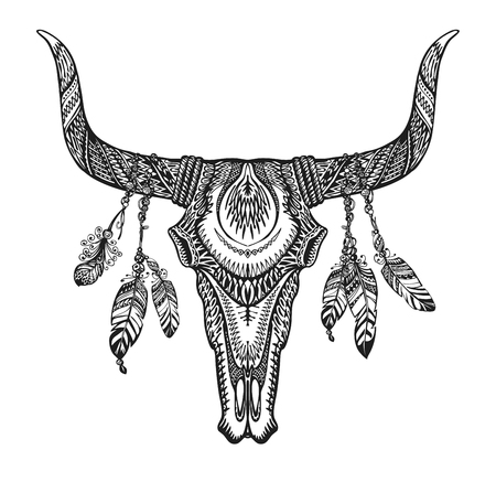 indian buffalo: Bull skull with feathers. Hand-drawn sketch native american totem