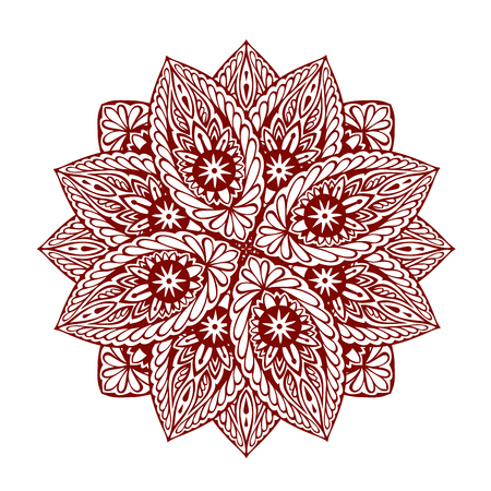 flake: Mandala. Decorative ethnic floral ornament. Vector illustration isolated on white background Illustration