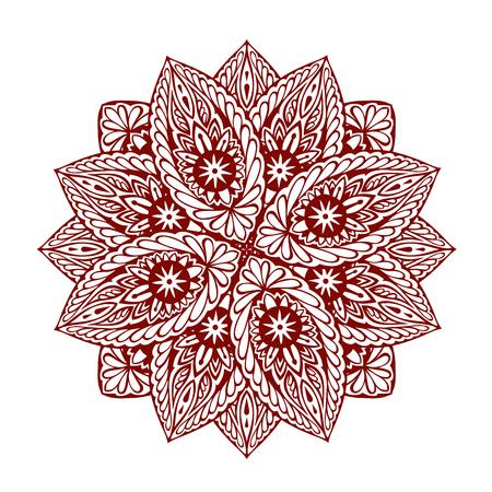 abstrakcja: Mandala. Ozdobny etniczny kwiatowy ornament. Ilustracja wektorowa na białym tle Ilustracja