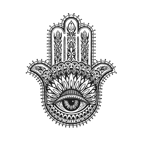Hand-drawn indian hamsa with ethnic ornaments. Vector illustration Illustration