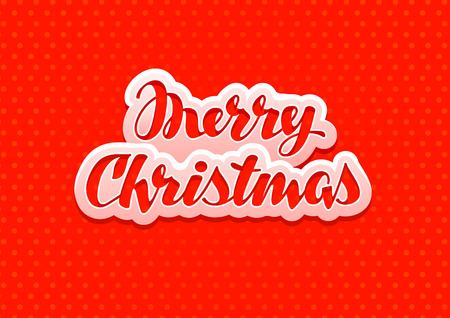 Vintage Merry Christmas on a red background. Vector illustration Illustration