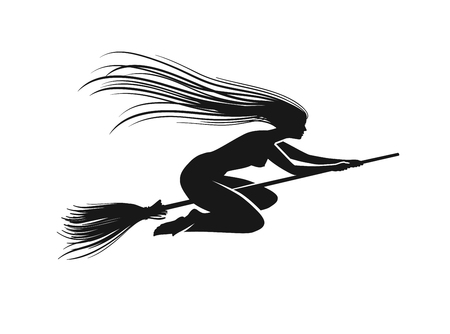 Witch on broomstick. Black silhouette. Vector illustration isolated on white background Illustration