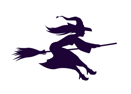 besom: Silhouette witch flying on broom. Halloween symbol. Vector illustration Illustration