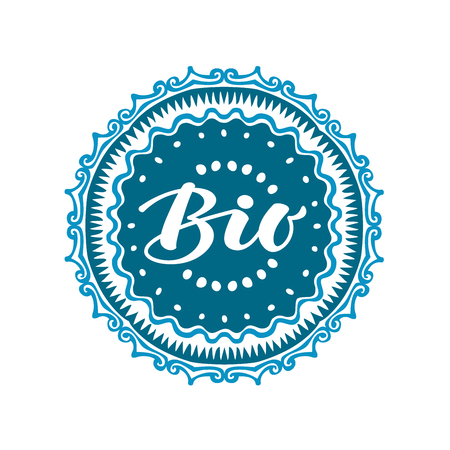 preservatives: Stamp with text Bio written inside. Lettering vector illustration isolated on white background Illustration