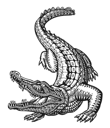 Crocodile. Hand-drawn ethnic patterns. Alligator, animal sketch Vector illustration