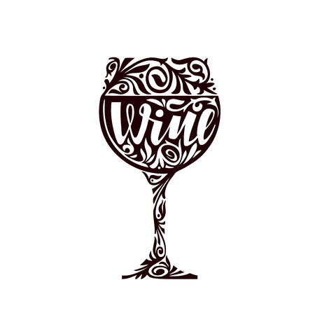 Wine. Glass of alcoholic beverage decorative floral ornament. Vector illustration