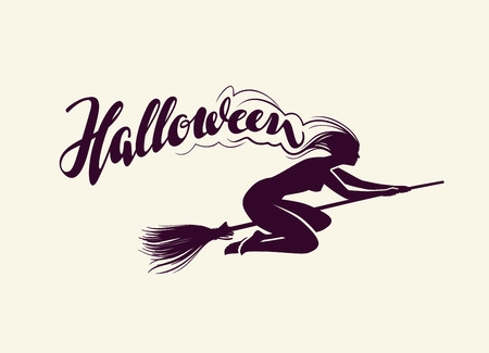 harridan: Halloween. Beautiful witch flying on broomstick. Greeting card