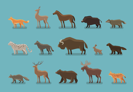 lynx: Animals icons. Boar, bear, fox, deer, horse, badger leopard wolf musk ox hare raccoon deer elk lynx wolverine Illustration