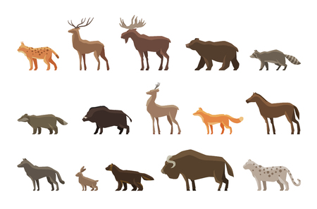 Animals icon set. Vector symbols lynx, deer, elk, bear, raccoon, badger, wild boar, roe deer, fox horse wolf hare musk ox snow leopard wolverine