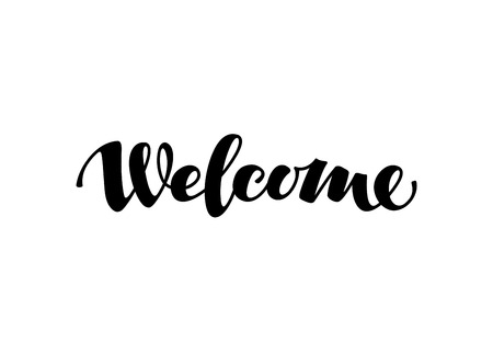 shorthand: Welcome inscription calligraphy. Hand-rawn lettering. Vector illustration