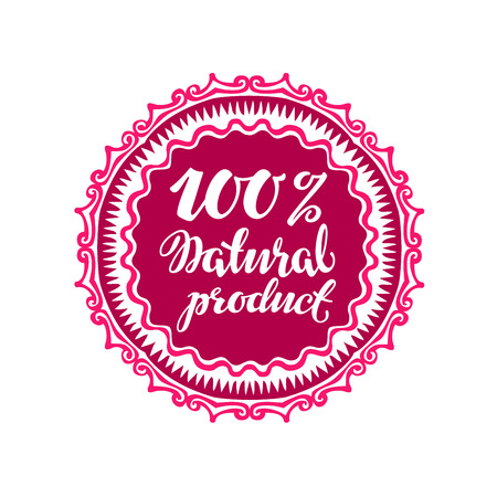 Stamp with text Natural Product written inside. Lettering vector