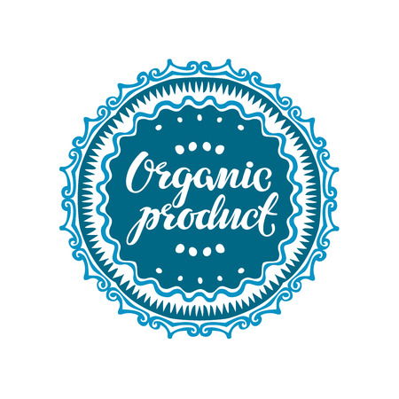 authenticity: Stamp with text Organic Product written inside. Lettering vector