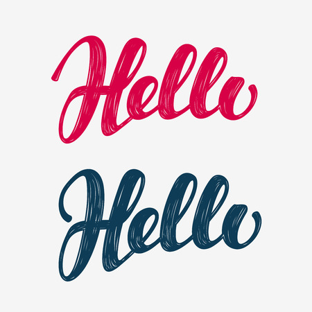 met: Hello doodle. Lettering calligraphic inscription. Vector illustration
