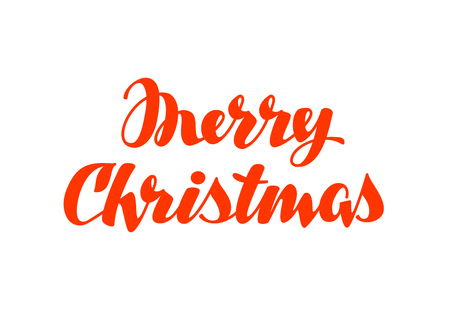 hand lettering: Merry Christmas hand lettering. Vector calligraphy element