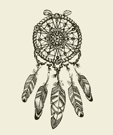 dreamcatcher dessinée à la main avec des plumes. amulette vintage indien avec des motifs ethniques Vecteurs