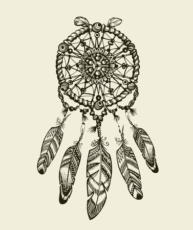 indian tattoo: Hand-drawn dreamcatcher with feathers. Vintage Indian amulet with ethnic patterns Illustration