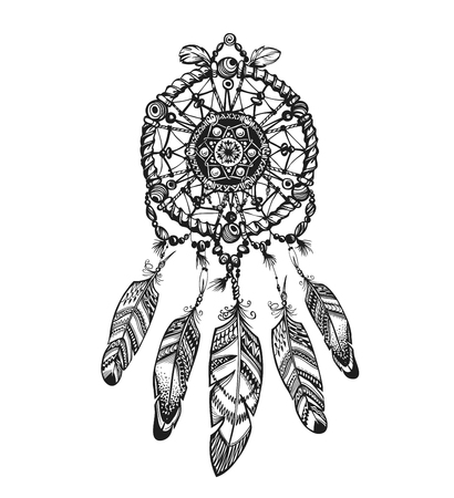 indian tattoo: Indian dream catcher with ethnic ornaments. Vector illustration