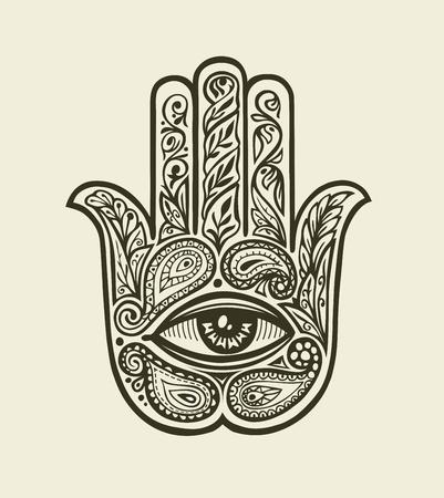 religion  herb: Ornate Hamsa Hand of Fatima. Hand drawn ethnic amulet in decorative style. Vector illustration Illustration