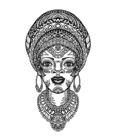 cabeza femenina: Mujer africana hermosa en turbante. ilustración vectorial dibujado a mano con elementos decorativos tradicionales