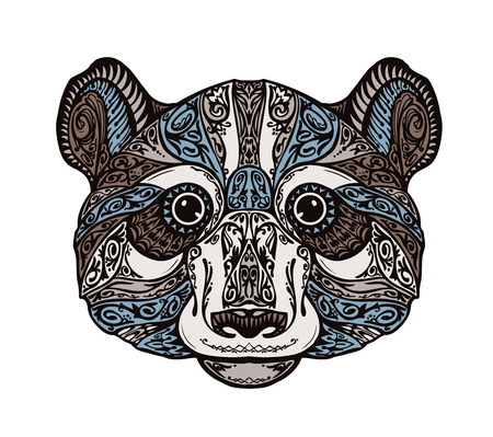 ornamented: Ethnic ornamented panda or bear. Hand-drawn vector illustration with floral elements Illustration