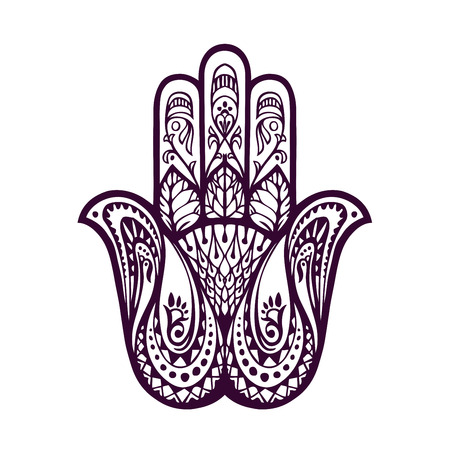 hamsa: Hand-drawn Hamsa or hand of Fatima. Vector illustration with ethnic and floral ornaments Illustration