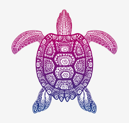 Decorative turtle with ornamental pattern. Vector tribal totem animal Illustration